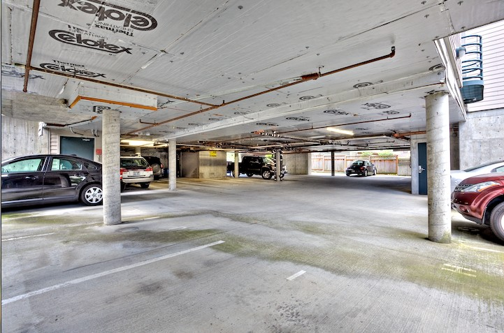 Rental includes a space in covered parking garage